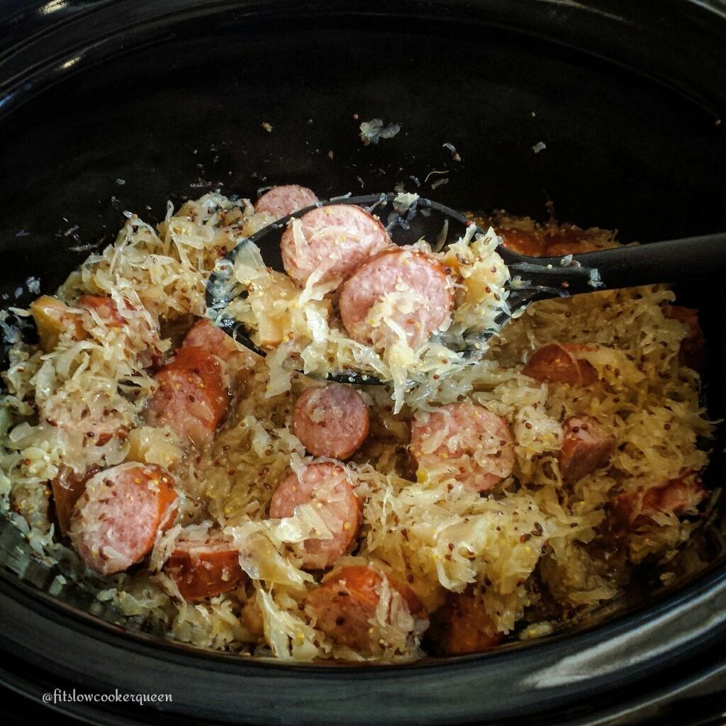 5-Ingredient Slow Cooker Apple-Dijon Sausage & Sauerkraut