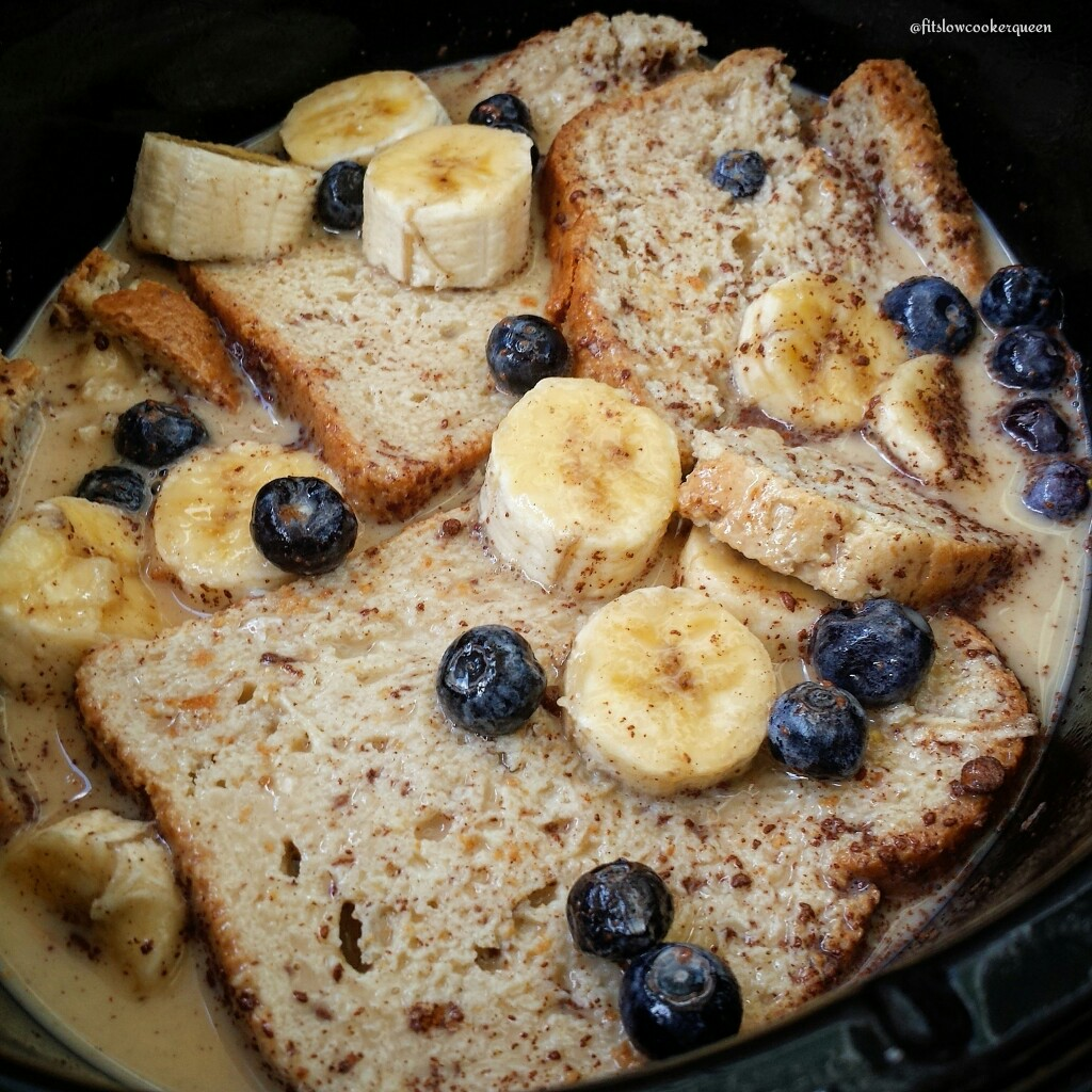 This french toast recipe cooks overnight in the crockpot.