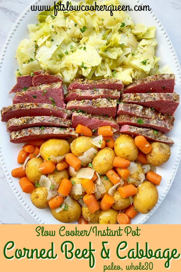 pinterest pin for {VIDEO} Slow Cooker_Instant Pot Corned Beef and Cabbage (Paleo, Whole30)