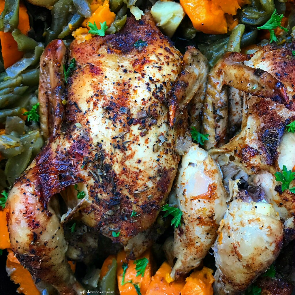 Creole seasoning is used on Cornish hens in this simple slow cooker meal for two. This one-pot meal recipe is healthy (whole30/paleo) and flavorful too.