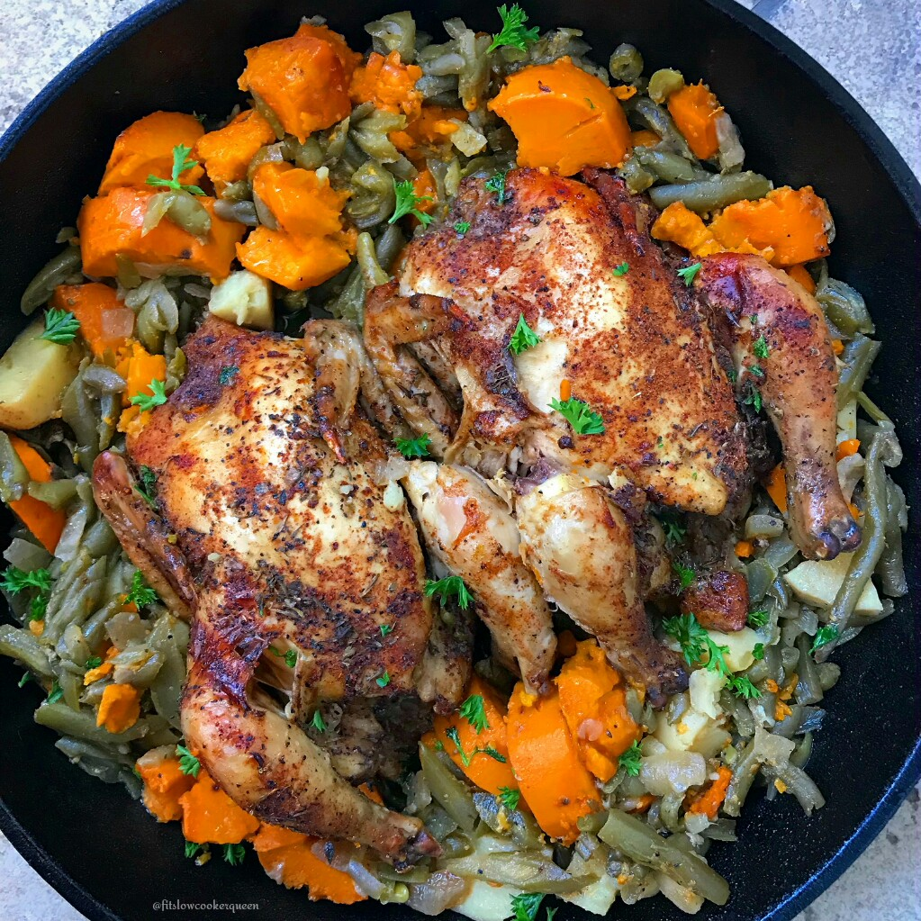Creole seasoning is used on Cornish hens in this simple slow cooker meal for two.This one-pot meal recipe is healthy (whole30/paleo) and flavorful too.
