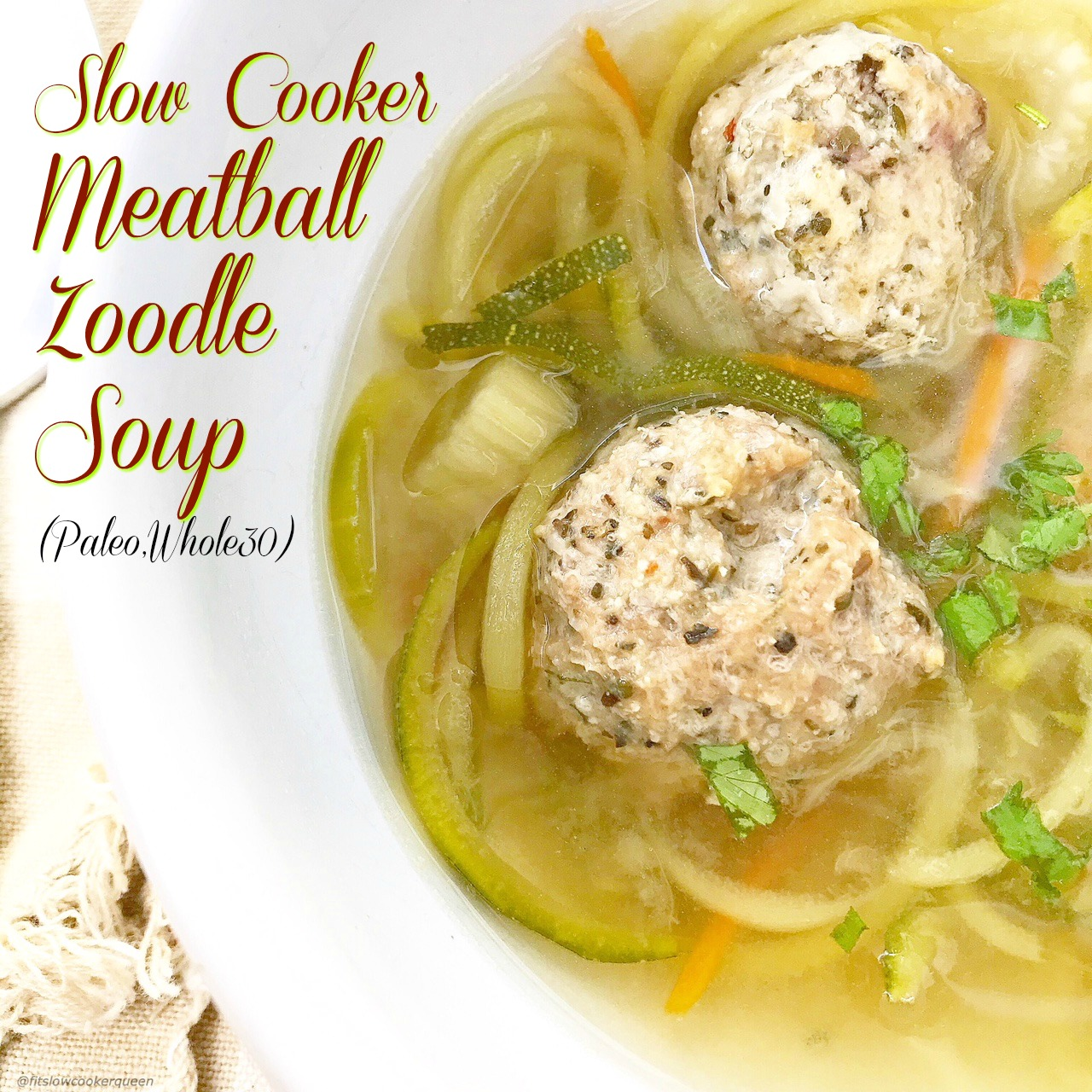 Zoodle soup! Slow cookers are meant to be used year-round. Zucchini zoodles and pre-made meatballslighten up this soup that can be eaten year-round.