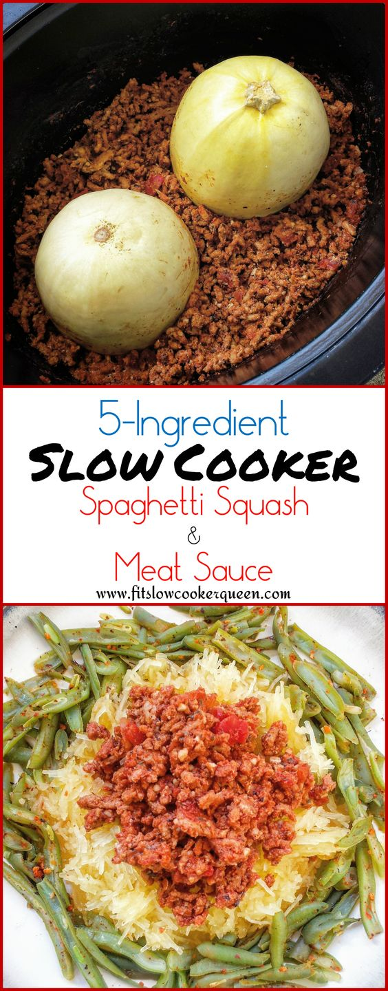 Spaghetti squash and meat sauce cook together in this easy slow cooker meal. This is a healthy, low-carb, paleo alternative to spaghetti.