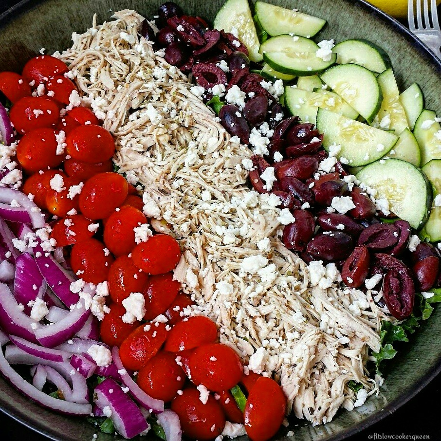 Greek Cobb Salad using Slow Cooker Easy Greek Shredded Chicken