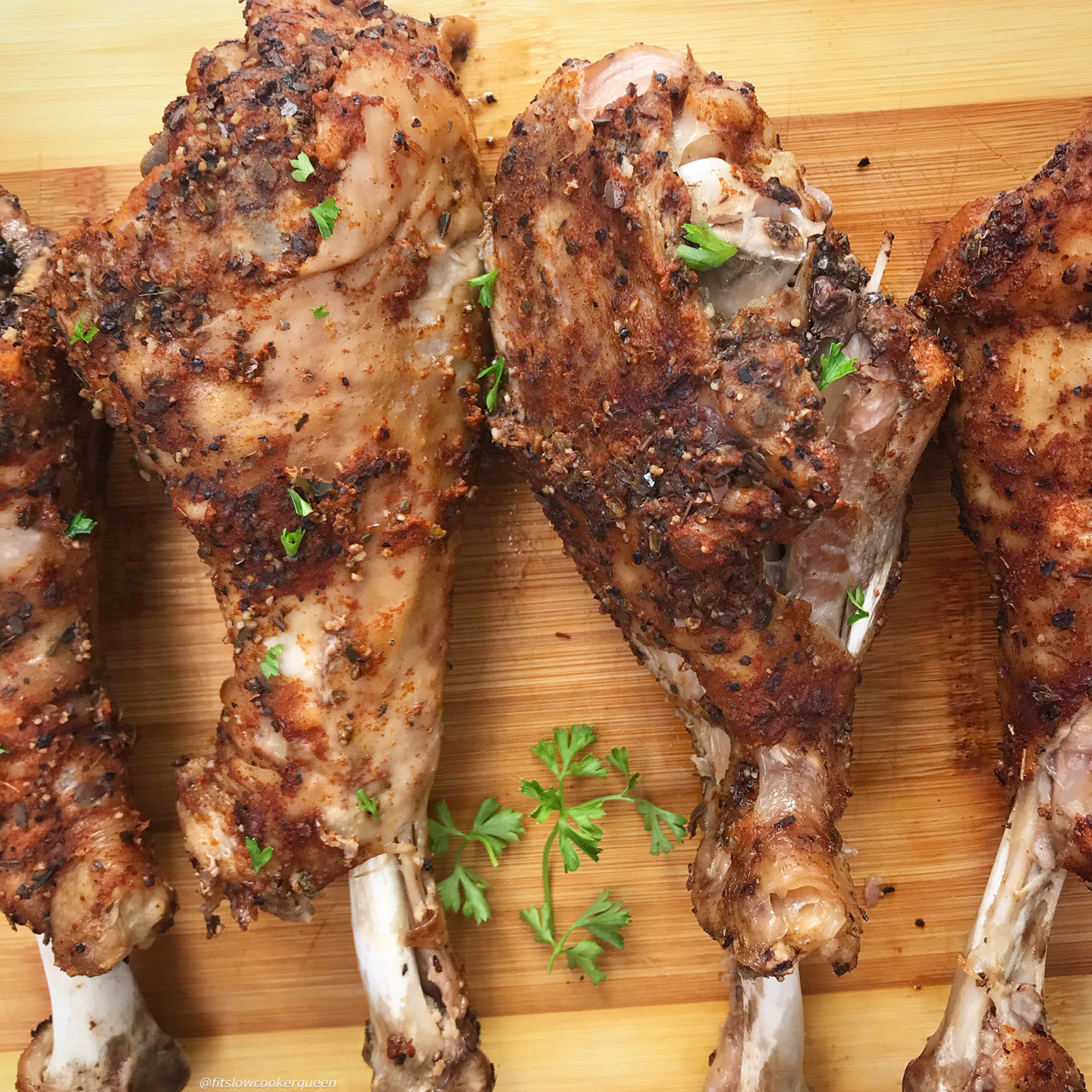 It doesn't have to be Thanksgiving to appreciate this paleo, whole30, and low-carb turkey legs recipe. Made in the slow cooker so it's super easy too.