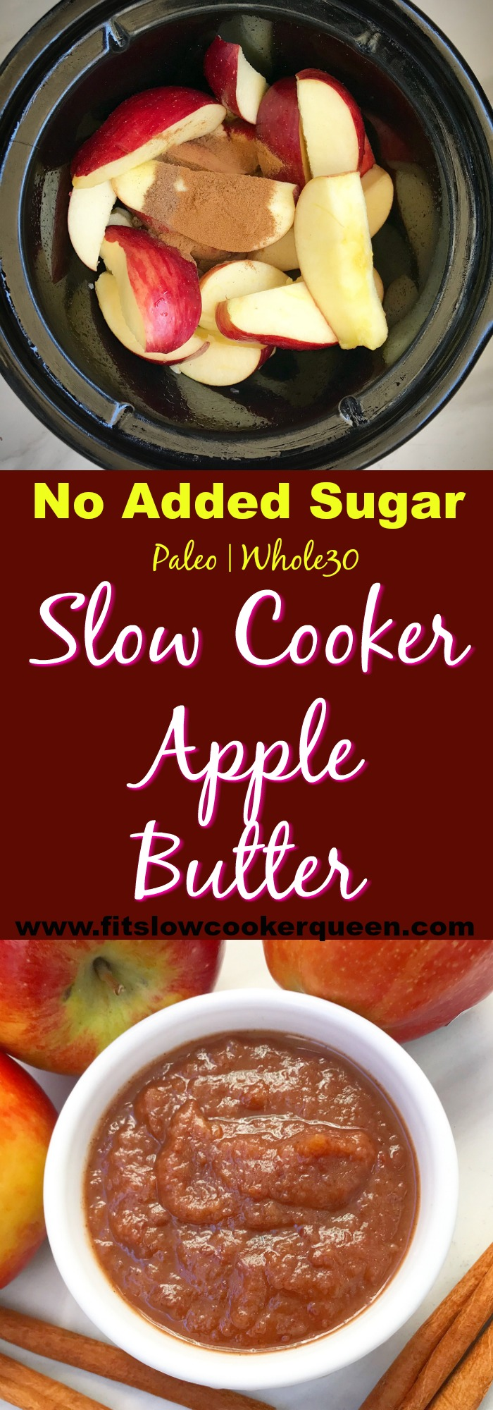 This healthy slow cooker apple butter recipe has NO ADDED SUGAR making it whole30 and paleo compliant while still being super easy.