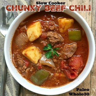 Slow Cooker Chunky Beef Chili (Paleo/Whole30)