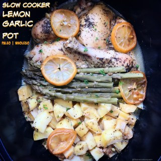 A light,homemade lemon-garlic sauce accompanies any cut of chicken, potatoes or sweet potatoes, and your favorite vegetable for this flavorful whole30 and paleo slow cooker recipe.