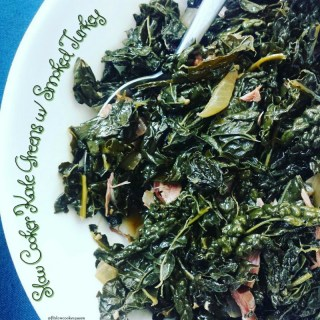 You can use kale or greens when making this easy slow cooker recipe. Both paleo and whole 30 compliant, this is a healthy spin on a southern classic.