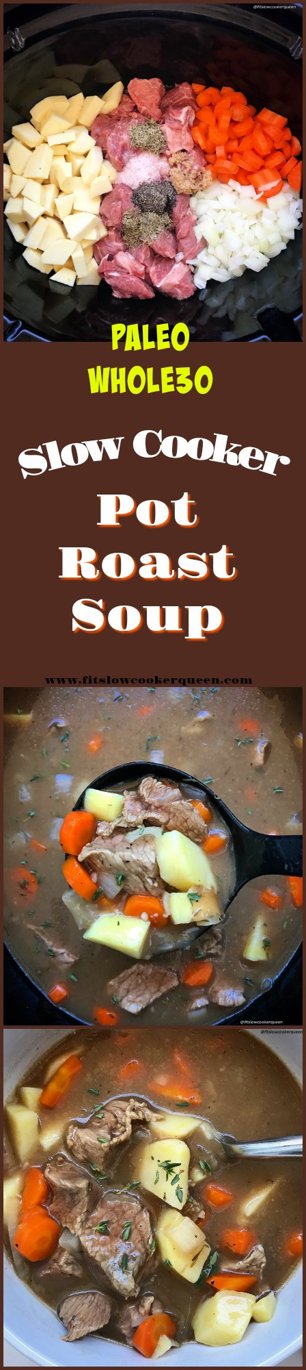Pot roast flavors in a bowl! This easy paleo and whole 30 slow cooker recipe turns a family dinner favorite (pot roast) into a comforting soup.