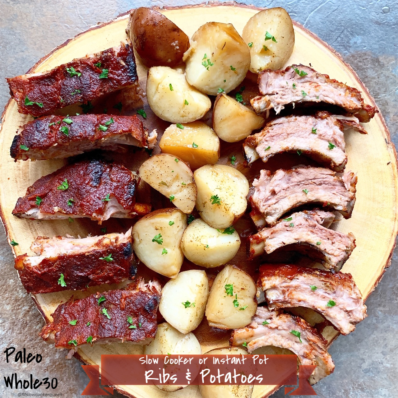 Melt in your mouth, falling off the bone ribs can easily be made in the slow cooker or Instant Pot. This paleo and whole30 recipe cooks the ribs and the potatoes all at once.