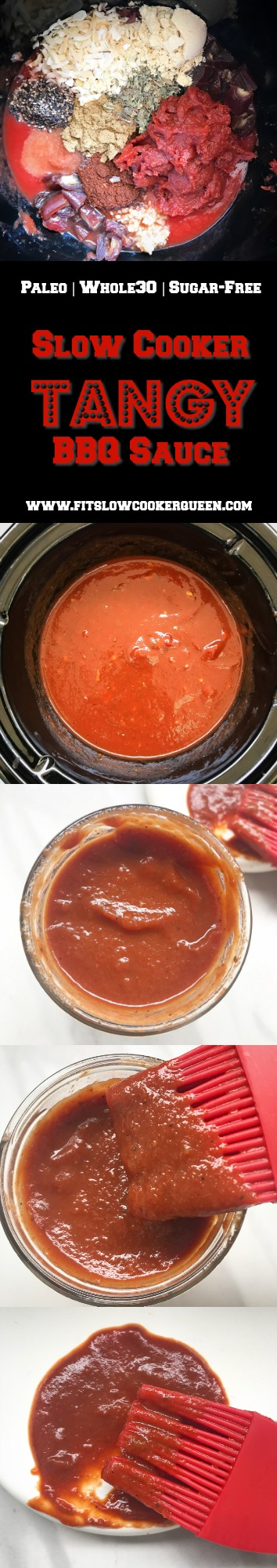 This tangy, homemade slow cooker BBQ sauce is sugar-free, gluten-free, whole30 compliant, and paleo but still packed with flavor.