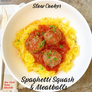 cover pic for slow cooker spaghetti squash & meatballs
