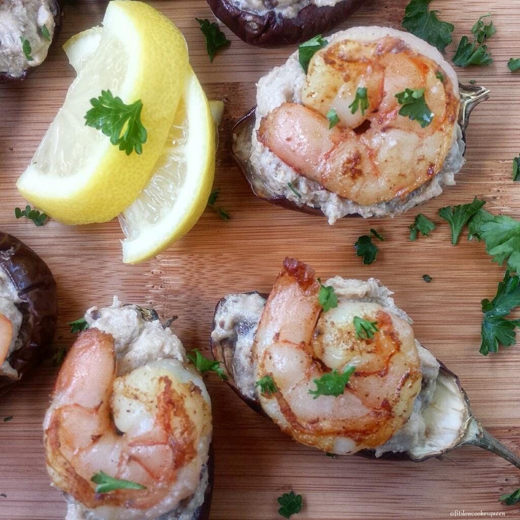 slow cooker baba ganoush shrimp bites 3