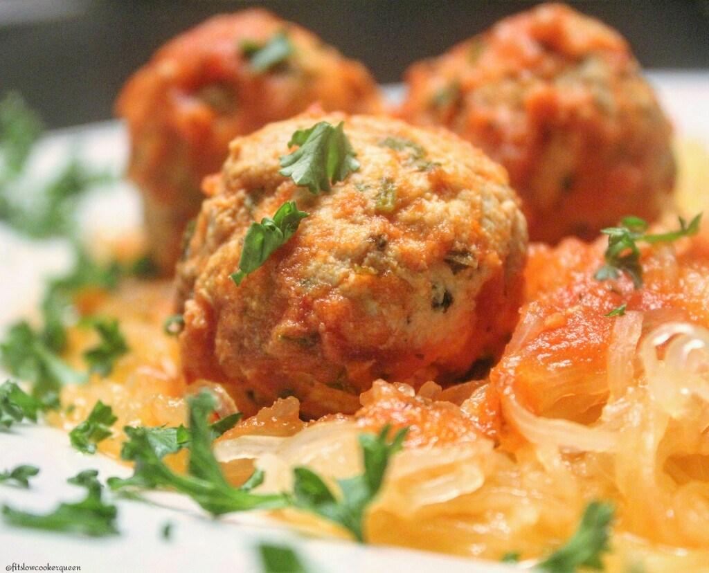 slow cooker spaghetti squash & meatballs 6