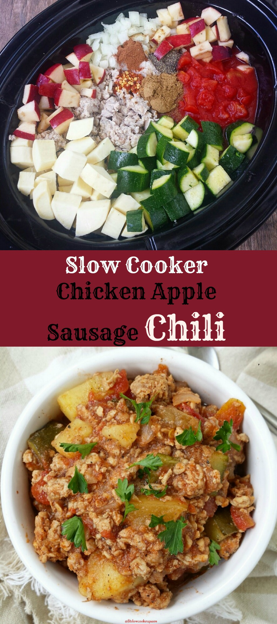 slow cooker chicken apple sausage chili pin