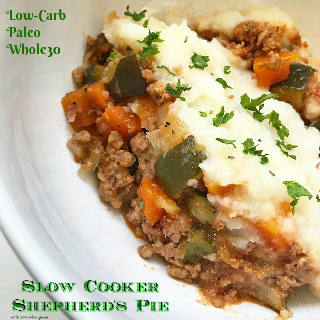 You can't celebrate St. Patrick's Day without shepherd's pie. This low-carb slow cooker version of the Irish classic is not just healthy (paleo, whole30) but & super easy too.