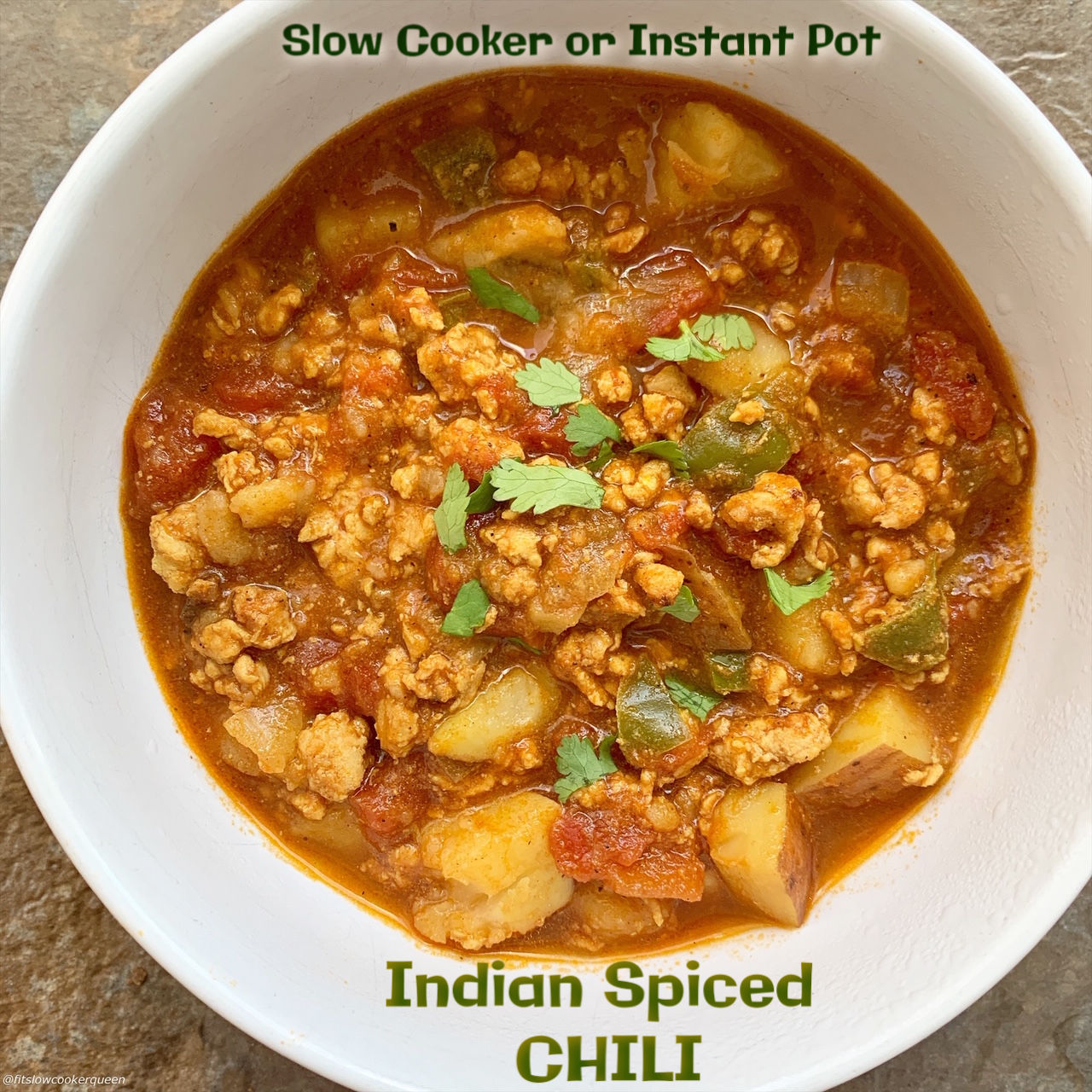 Indian spices and ingredients are used to make this unique version of chili. Make this paleo and whole30 chili in your slow cooker or Instant Pot.