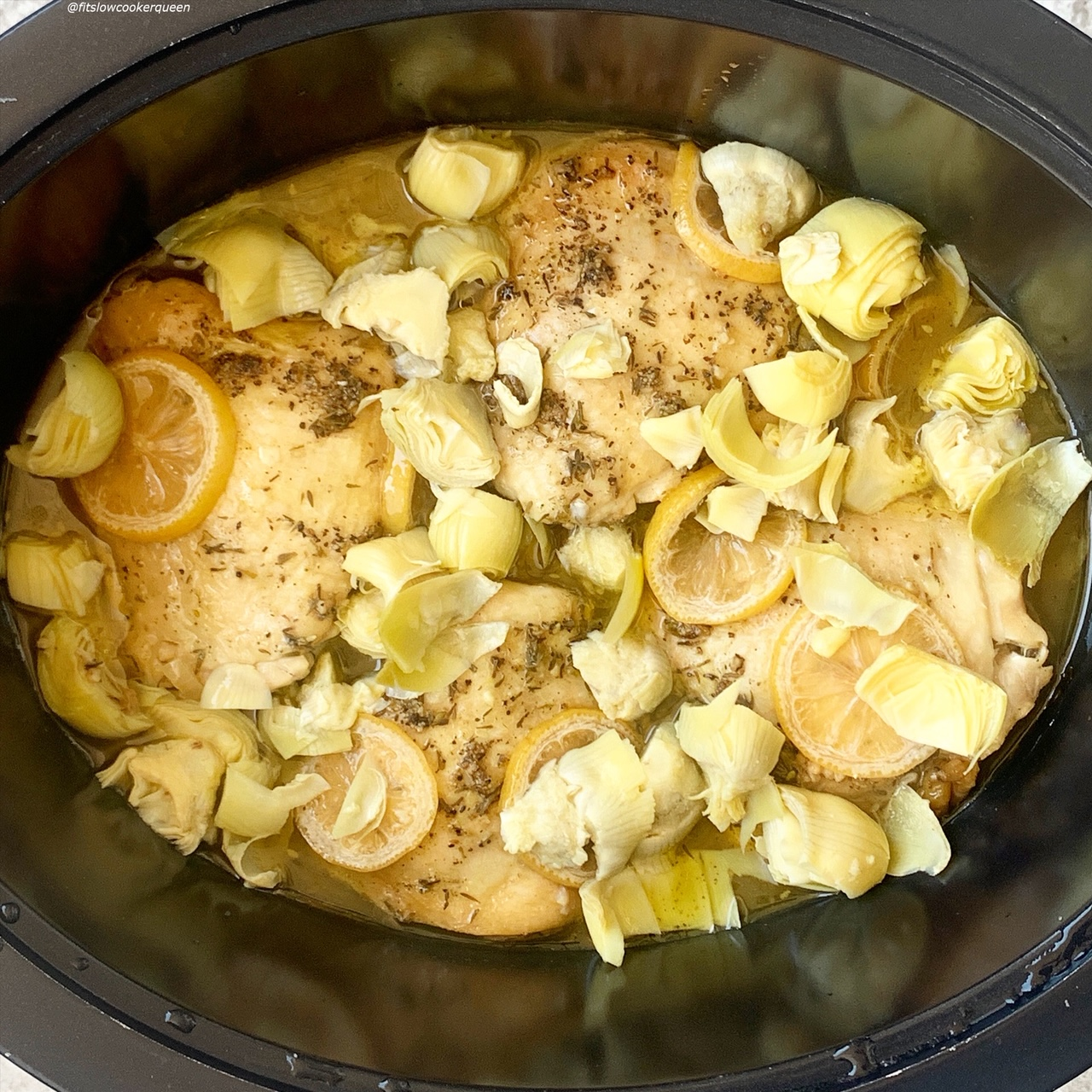 add raw artichokes to the slow cooker and cook an additional 30 minutes