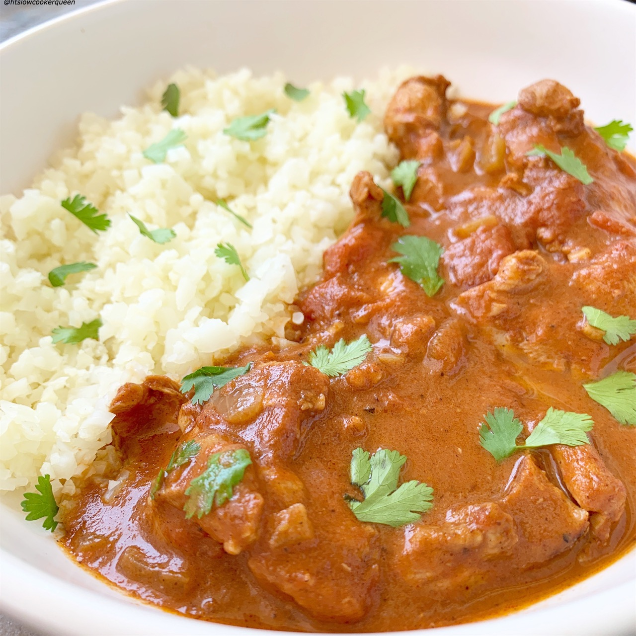 Chicken tikka masala is a popular Indian restaurant dish that's perfect for the slow cooker or pressure cooker. This dairy-free, paleo & whole30 version will have your kitchen smelling amazing.