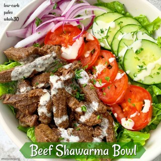 {VIDEO} Slow Cooker/Instant Pot Beef Shawarma Bowl (Low-Carb, Paleo, Whole30)