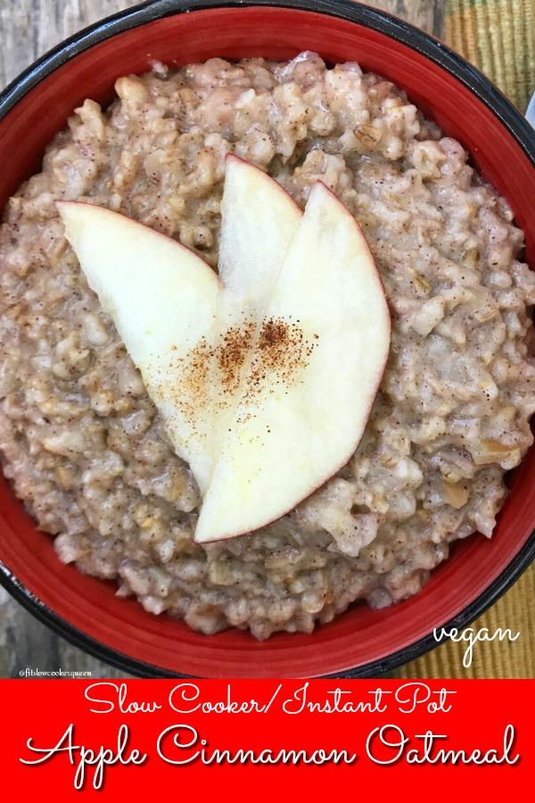 pinterest pin for {VIDEO} Cooker_Instant Pot Apple Cinnamon Oatmeal (Vegan)