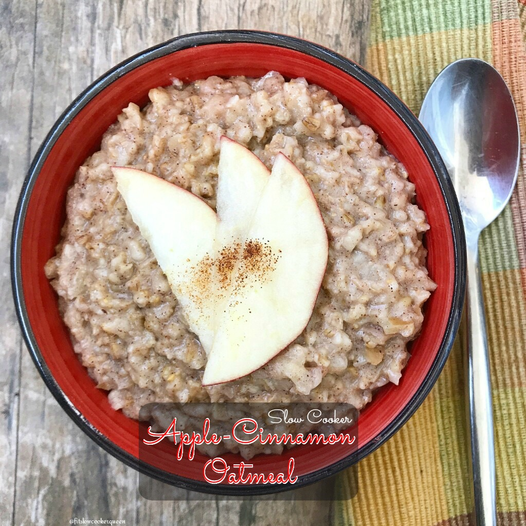 Oatmeal is a great recipe for the low & slow cooker method. Add apples, cinnamon and a few other ingredients for this easy & healthy breakfast recipe.