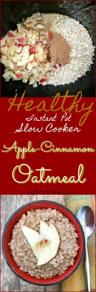 pinterest pin for {VIDEO} Slow Cooker Instant Pot Apple Cinnamon Oatmeal (Vegan)
