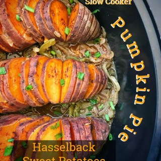 Pumpkin pie hasselback sweet potatoes - ultimate vegan/vegetarian slow cooker comfort food! And it's healthy being both paleo and whole30.