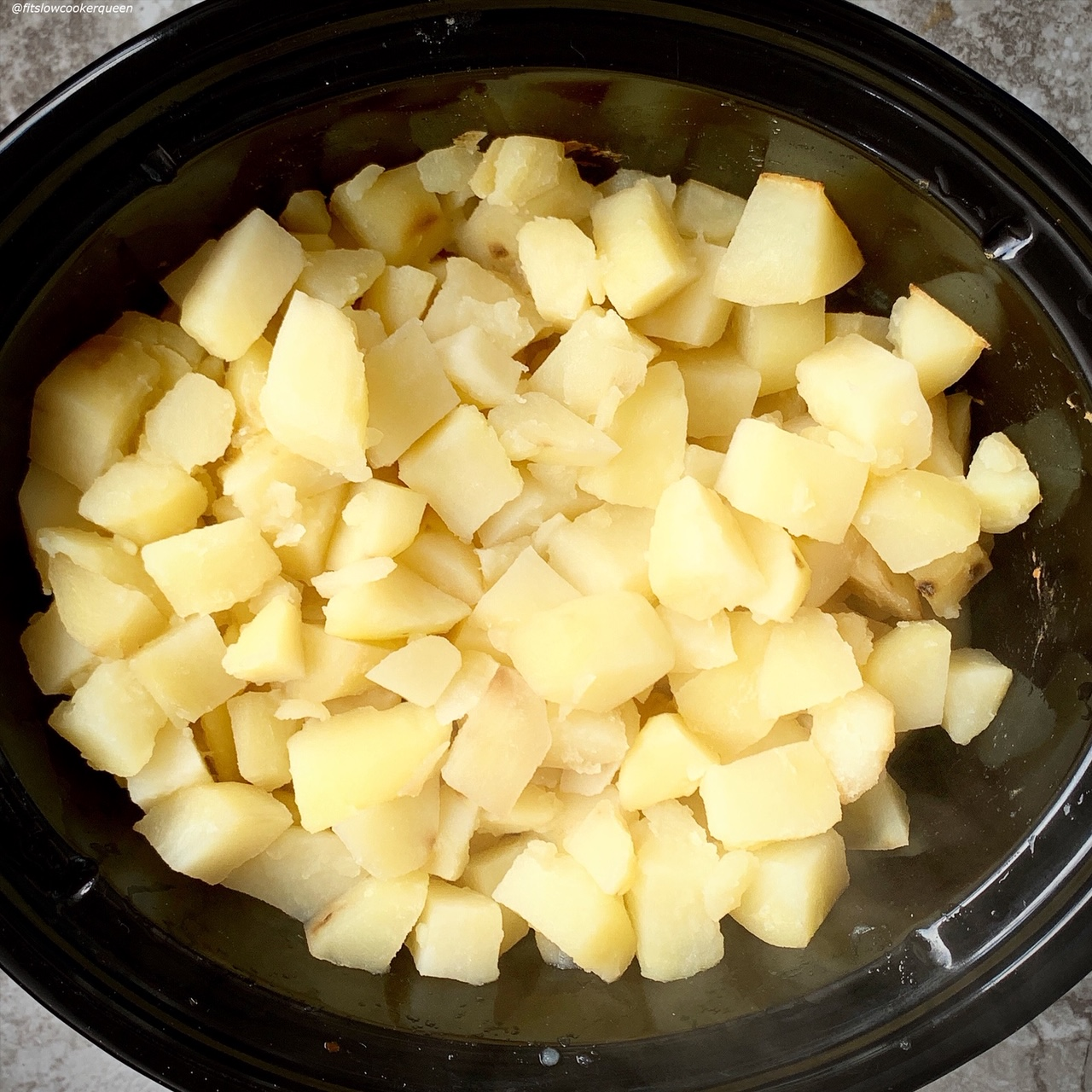 cooked potatoes in the slow cooker