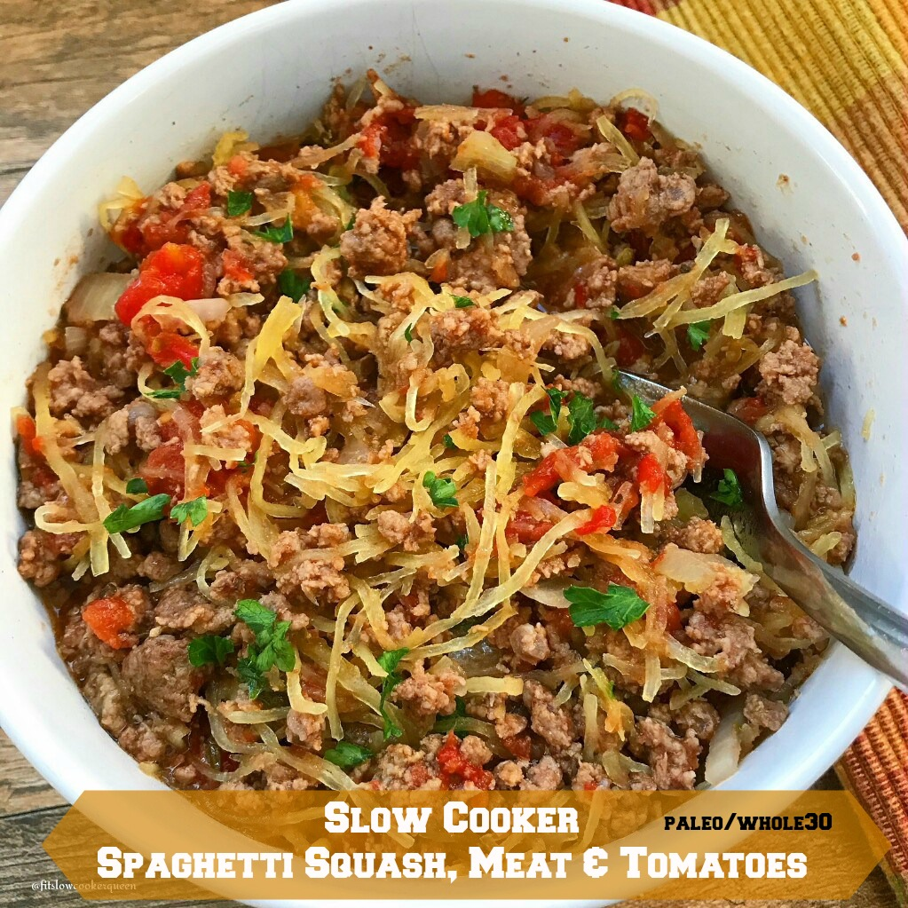 Slow cooker spaghetti squash meat tomatoes paleo whole30 fit spaghetti squash cooks in the slow cooker with your preferred ground meat diced tomatoes forumfinder Images