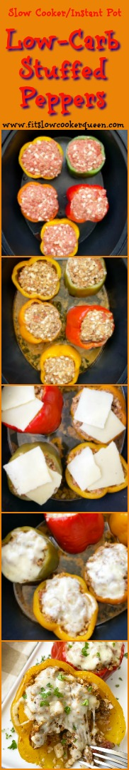 another pinterest pin for Slow Cooker_Instant Pot Low-Carb Stuffed Peppers