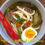 don soup is a classic Japanese noodle soup. This slow cooker version uses a homemade broth, tender slices of beef, and thick udon noodles.