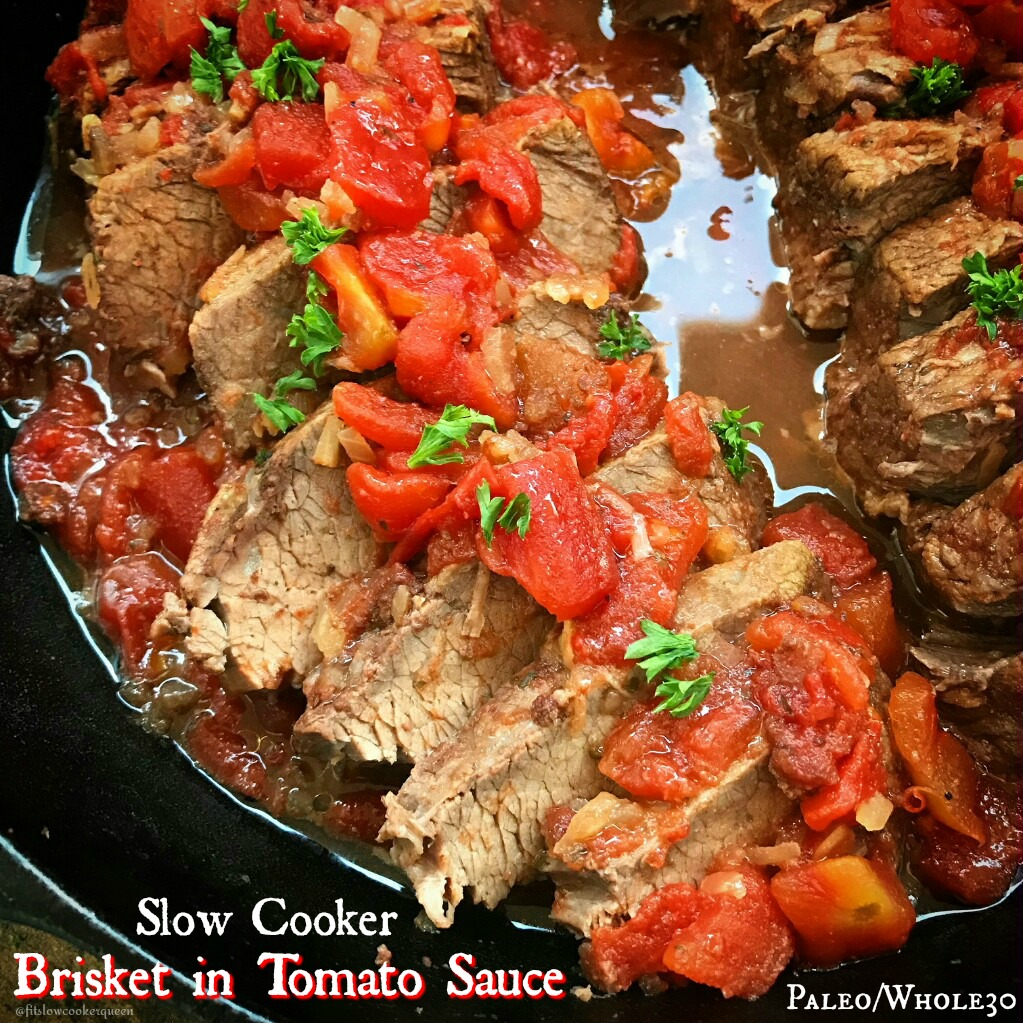 Brisket and a homemade simple, tomato-based sauce is all that is  required for this paleo and whole30 compliant healthy, slow cooker brisket recipe.
