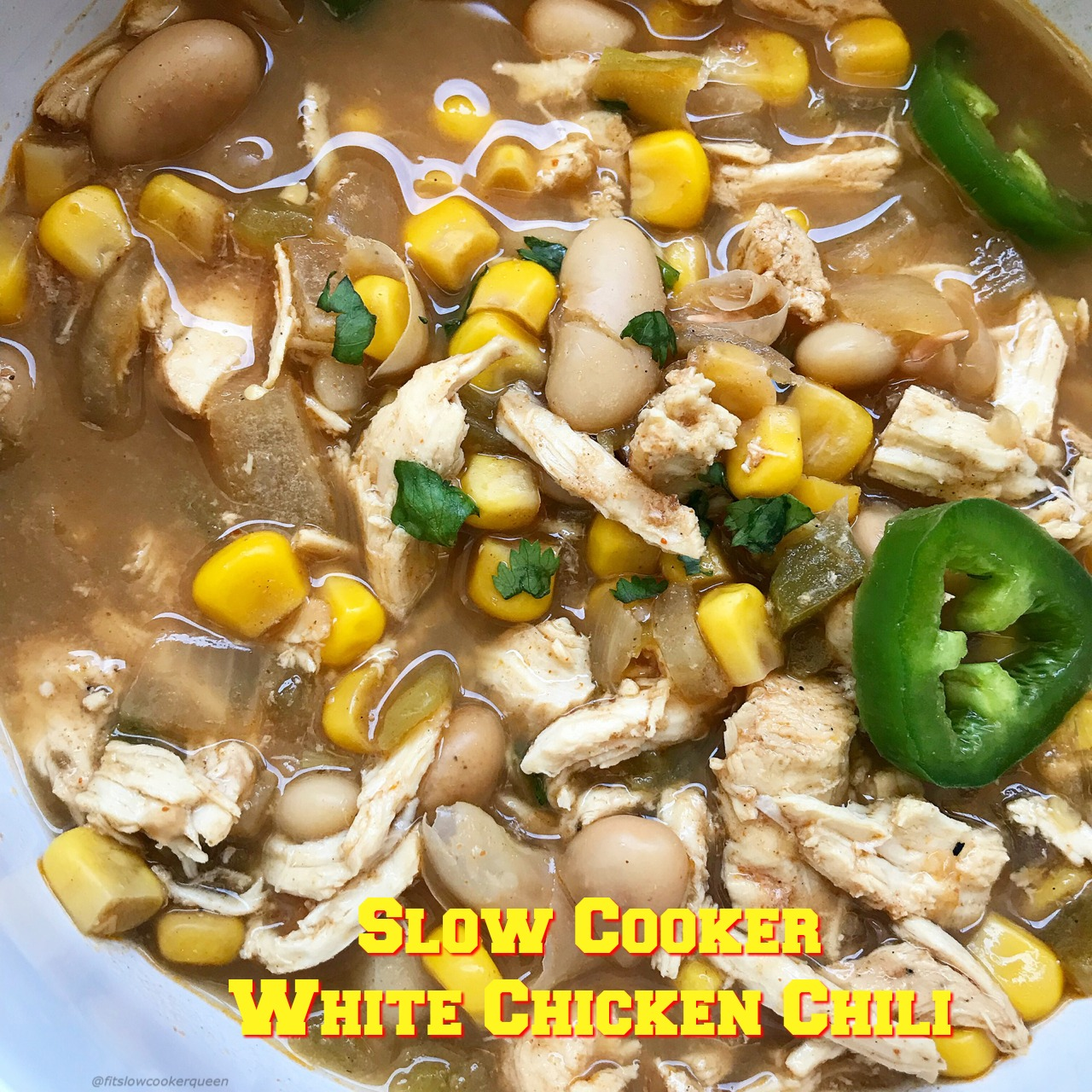White chicken chili is a healthy, fun twist on a slow cooker staple. This chili is done in just a few hours yet the aroma and flavors are so strong you'd think it had been cooking all day.