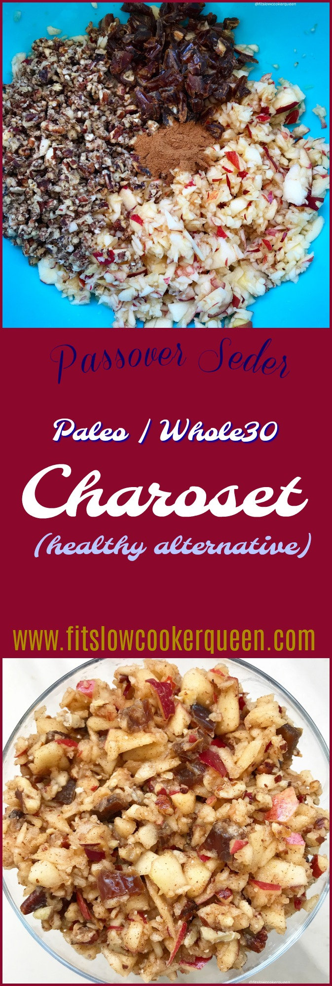 Charoset is a simple dish made from apples and walnuts that's served during a passover seder. This paleo and whole30 version omits the wine or juice, using all-natural ingredients instead.