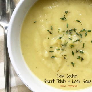 Leeks are slow cooked with sweet potatoes in place of potatoes in this paleo (and whole30) spin on a classic, comfort food soup.