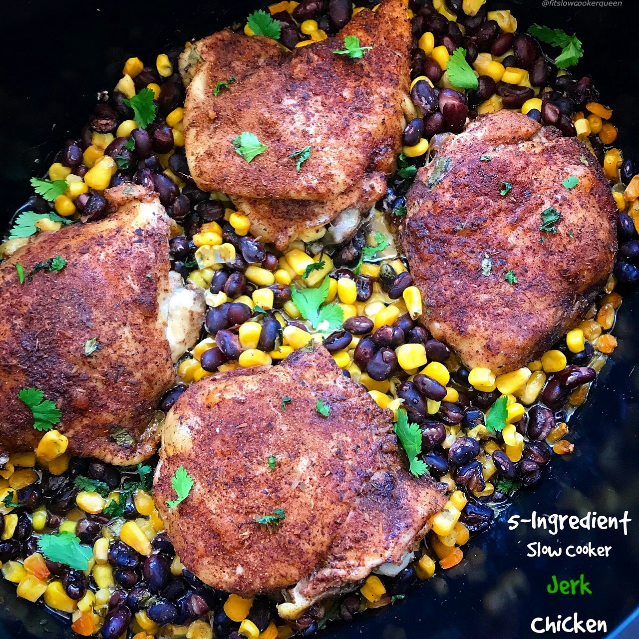 Jerk chicken, quick and in the slow cooker! Grab your favorite jerk seasoning (or use the one provided here) for this easy slow cooker recipe. With only 5 ingredients, you can pretty much use any cut of chicken and serve the finished product so many different ways.