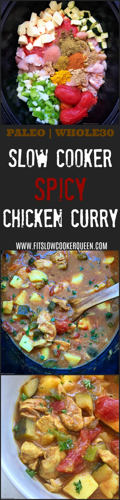 This Indian-flavored spicy chicken curry is not just an aromatic and flavorful dish, it is also paleo, whole30 compliant, and super easy to make. Sit back and let your slow cooker create a delicious curry.