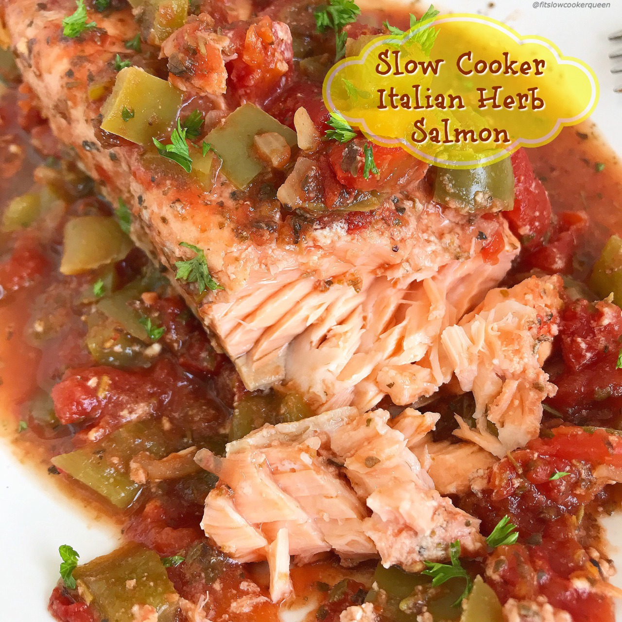 Of course you can cook salmon in the slow cooker! Italian seasonings, diced tomatoes, bell pepper, and fresh herbs cook with salmon in this healthy paleo and whole30 dish. Quick & easy, this slow cooker recipe is done in just a couple hours.