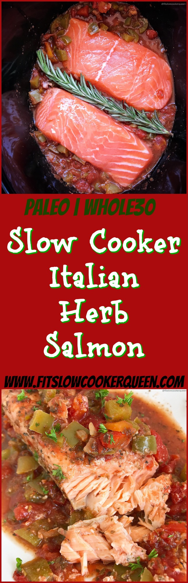 Of course you can cook salmon in the slow cooker! Italian seasonings, diced tomatoes, bell pepper, and fresh herbs cook with salmon in this healthy paleo and whole30 dish. Quick & easy, this slow cooker recipe is done in just a couple of hours.