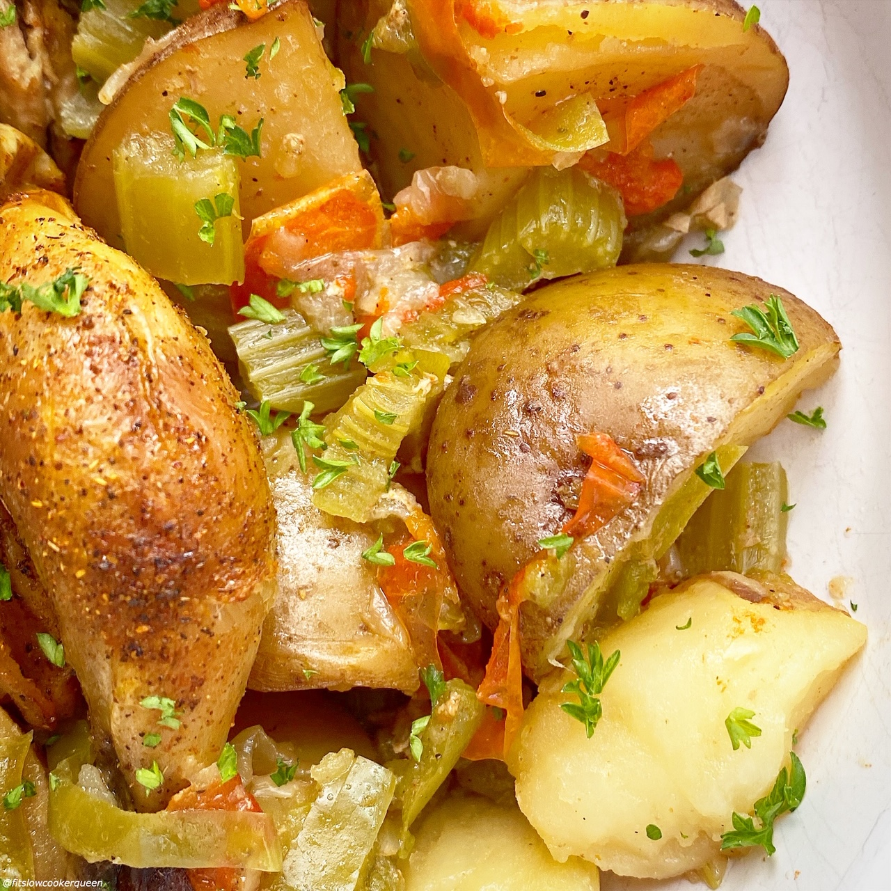 plated, cooked potatoes, bell peppers, onions, and celery