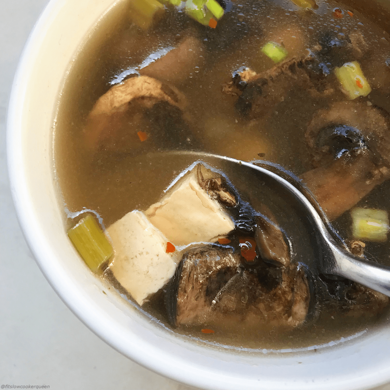 Chinese hot & sour soup is simple soup that can be made many different ways. This slow cooker version is vegan, vegetarian, and low-sodium.