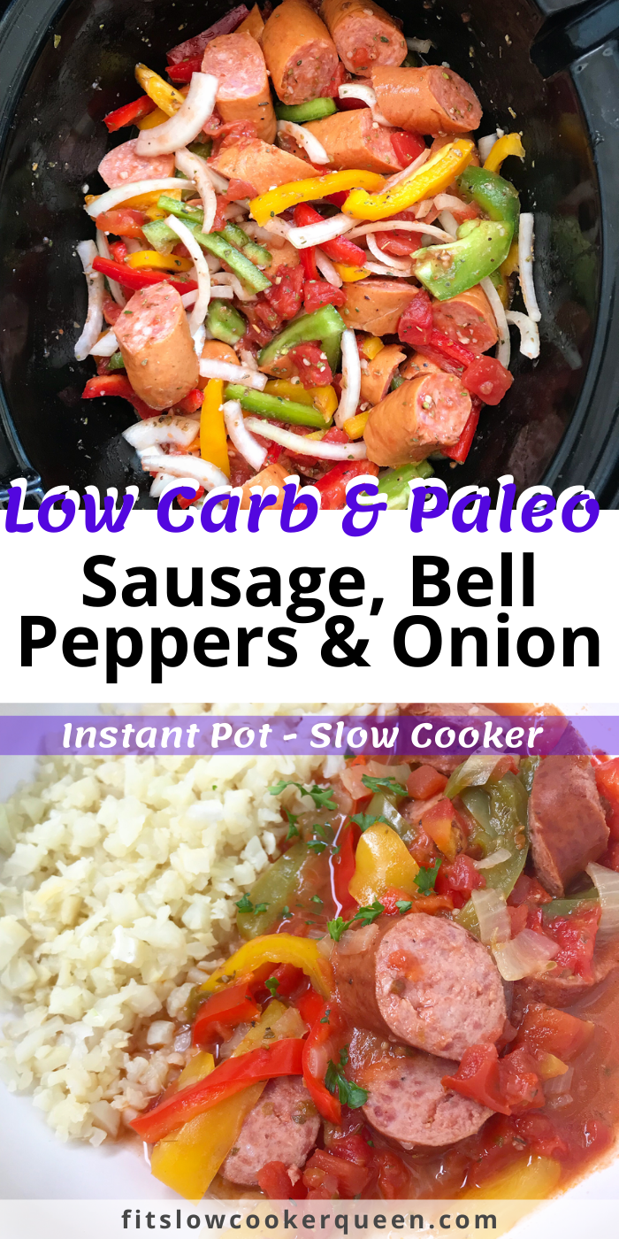 Slow Cooker/Instant Pot Sausage, Bell Peppers & Onions (Low-Carb,Paleo,Whole30,)