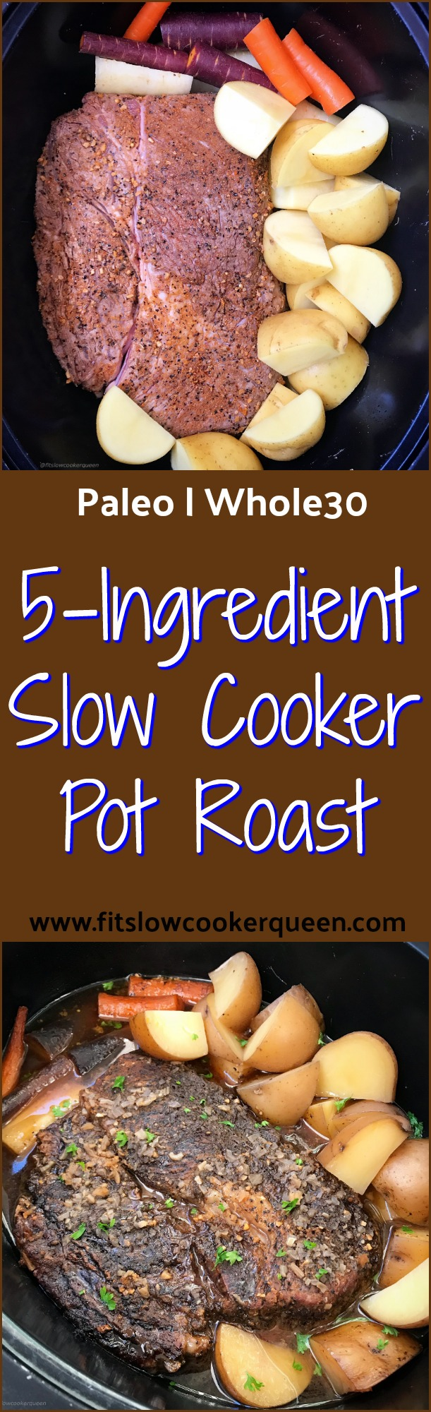 There are only 5 ingredients in this simple, healthy (both paleo and whole30 compliant) & flavorful slow cooker pot roast recipe.