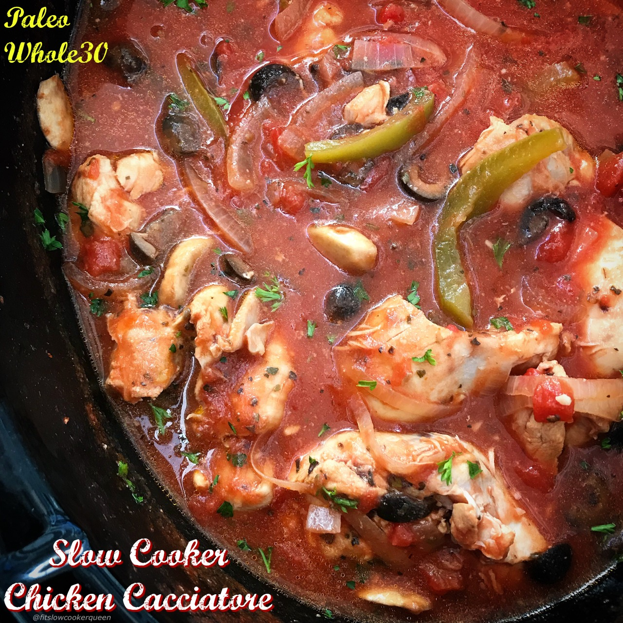 Chicken cacciatore is a classic Italian dish. This easy slow cooker version is paleo and whole30 but not lacking in flavor.