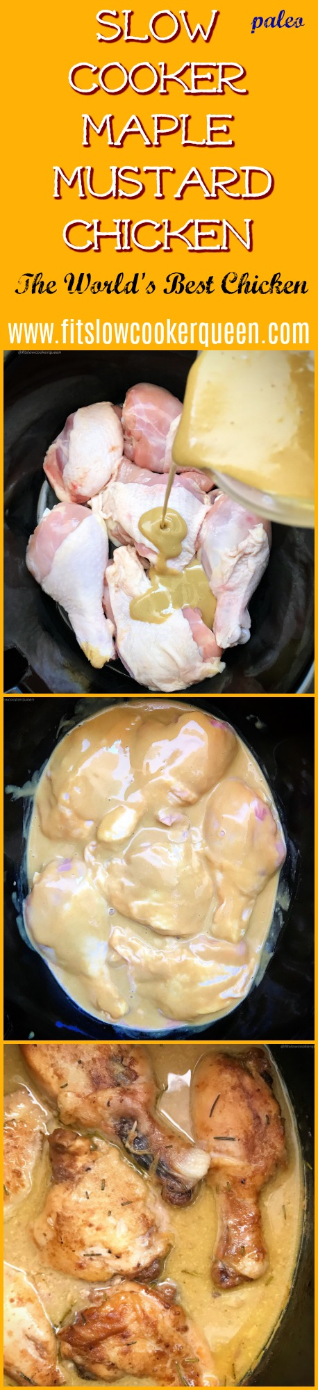 """There are only 5 ingredients in this popular maple mustard chicken recipe, also known as, """"The World's Best Chicken"""". Made in the slow cooker, this paleo version is fast & flavorful."""