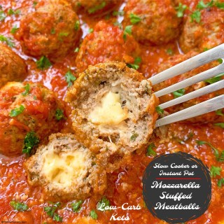 {VIDEO} Slow Cooker/Instant Pot Mozzarella Stuffed Meatballs (Low-Carb, Keto)