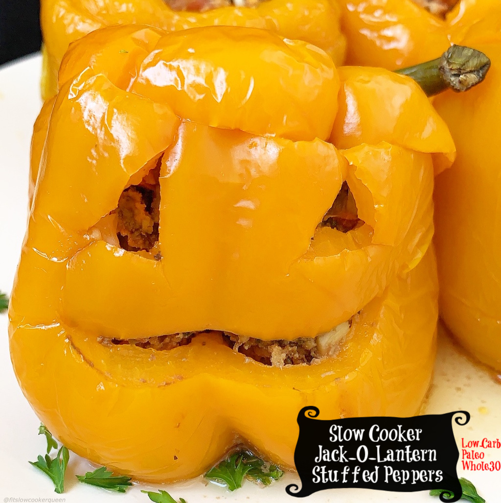 These jack-o-lantern stuffed peppers are an easy way to add some Halloween fun to your dinner table. The best part is they're low-carb, paleo, whole30, and made in the slow cooker for stress-free meal.