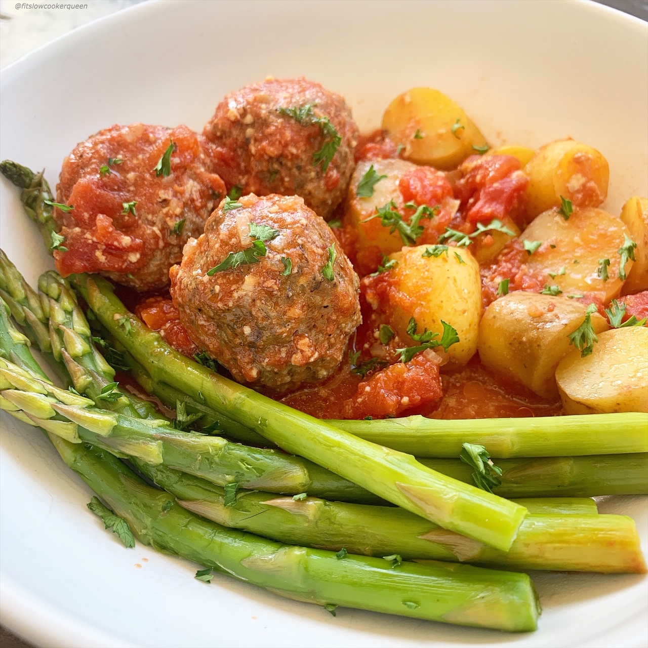Meatballs, potatoes, and vegetables cook together in this easy & healthy Italian dinner. Cook this one-pot meal in your slow cooker or Instant Pot.